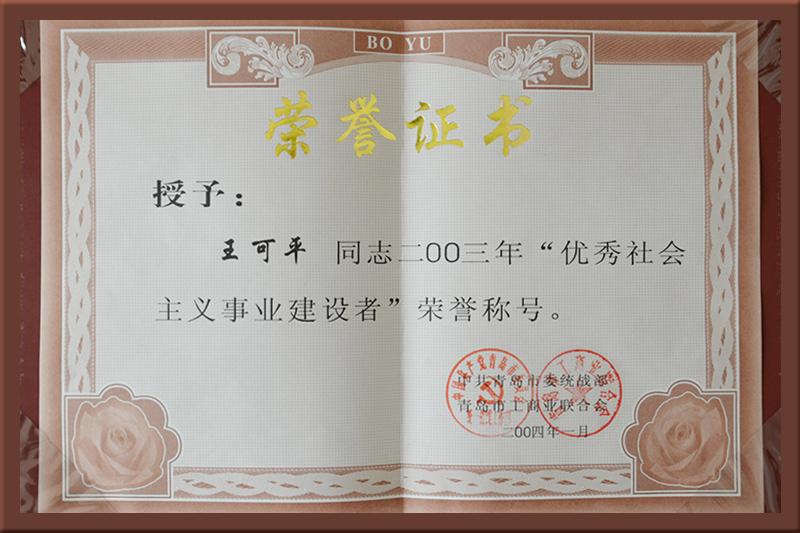 优秀社会主义事业建设者证书